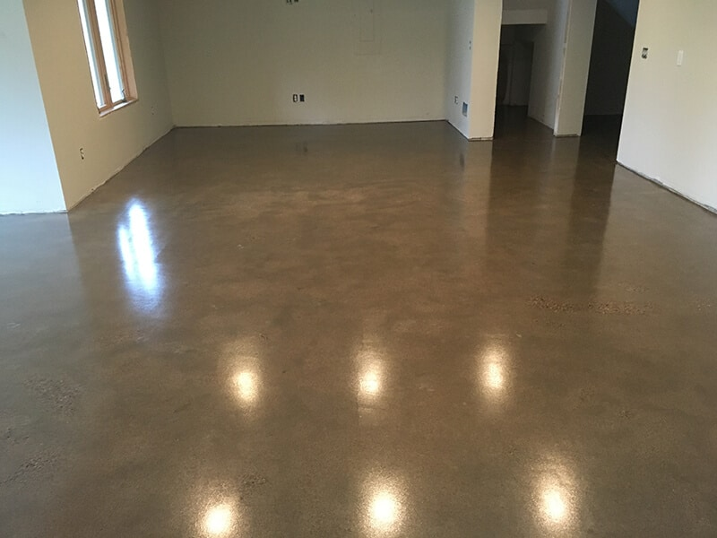 polished concrete in spare bedroom