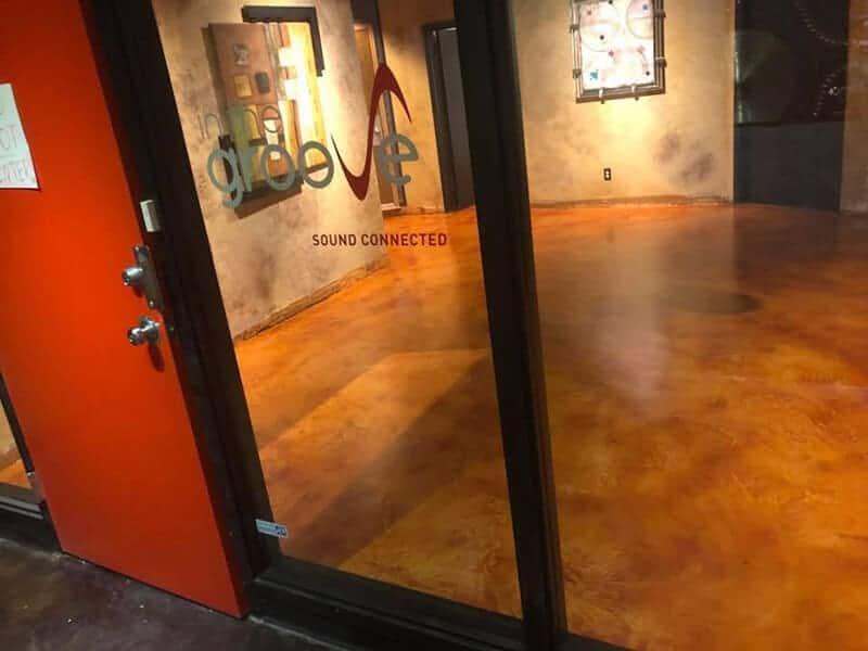 orange poxy flooring