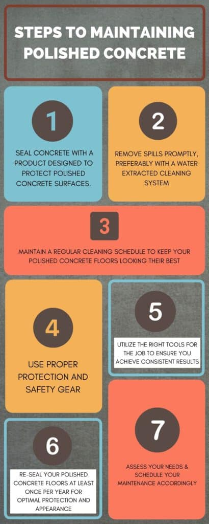steps to maintaining polished concrete